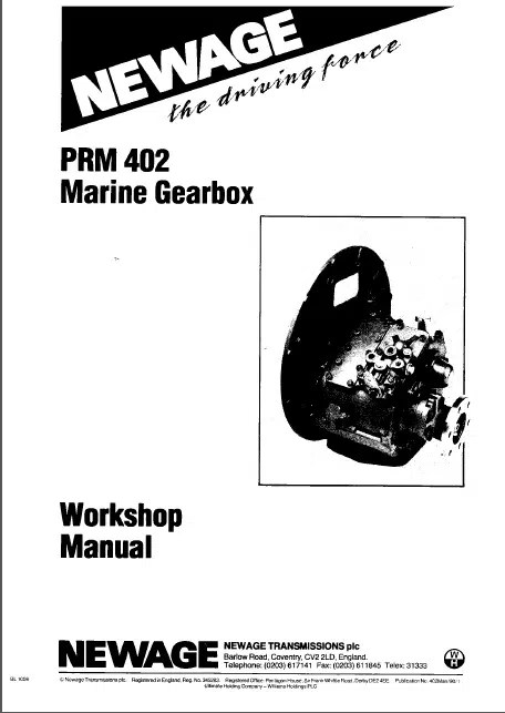 PRM 402 marine transmission gearbox Workshop manual and