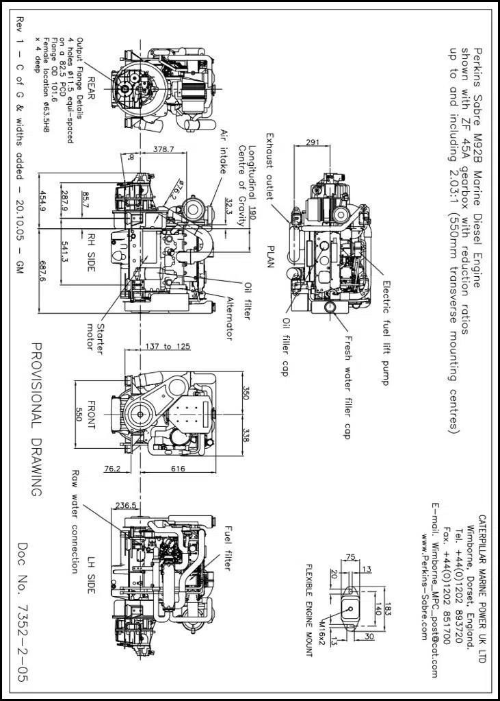 Perkins M92B marine diesel engine with ZF 45A Transmission