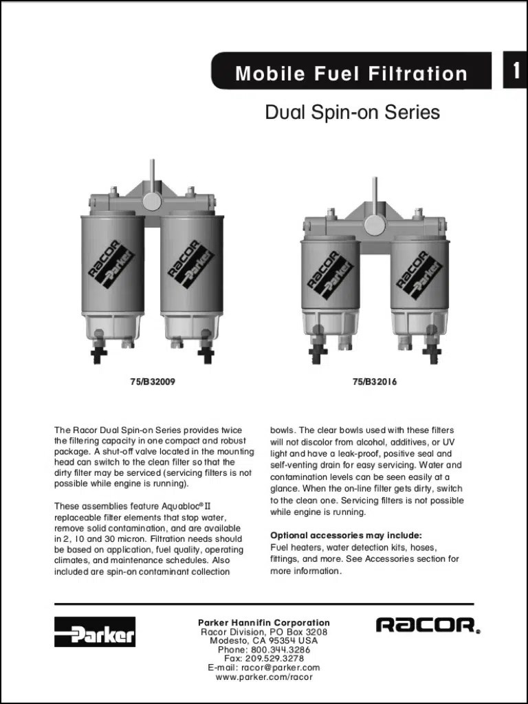 hight resolution of racor diesel fuel filter dual spin on series