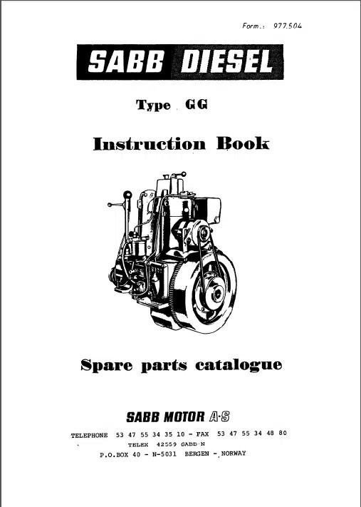 Sabb Diesel Engine GG Instruction Book &Spare Parts