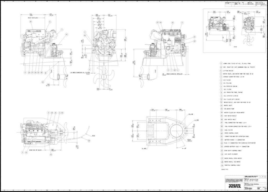 Volvo D2-75 Marine diesel Engine with 150S saildrive