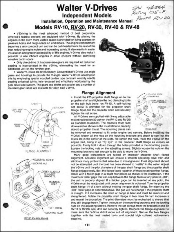 Walter V-drive Rv-10 Short Version Marine Transmission