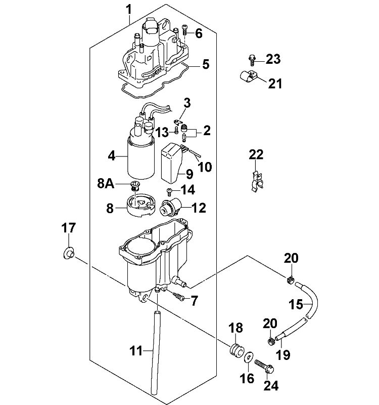 Johnson Fuel Vapor Separator Parts for 2004 115hp
