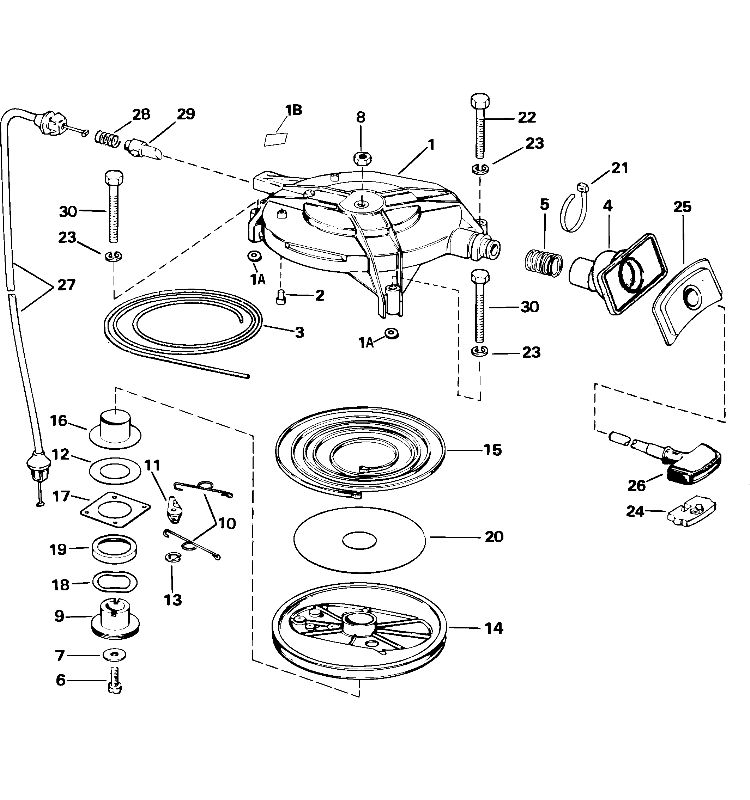 Johnson Recoil Starter Parts for 2004 30hp J30MLSRC