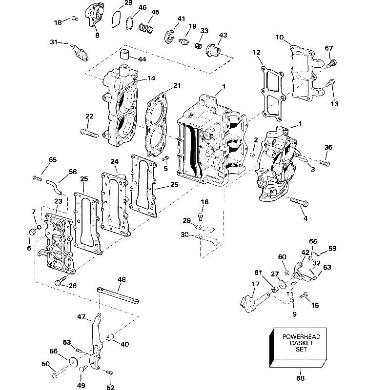 Johnson Cylinder & Crankcase Parts for 2007 15hp J15RTSUR