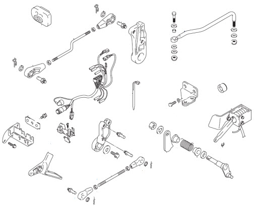 Johnson Remote Control Conversion Kit Parts for 2005 30hp