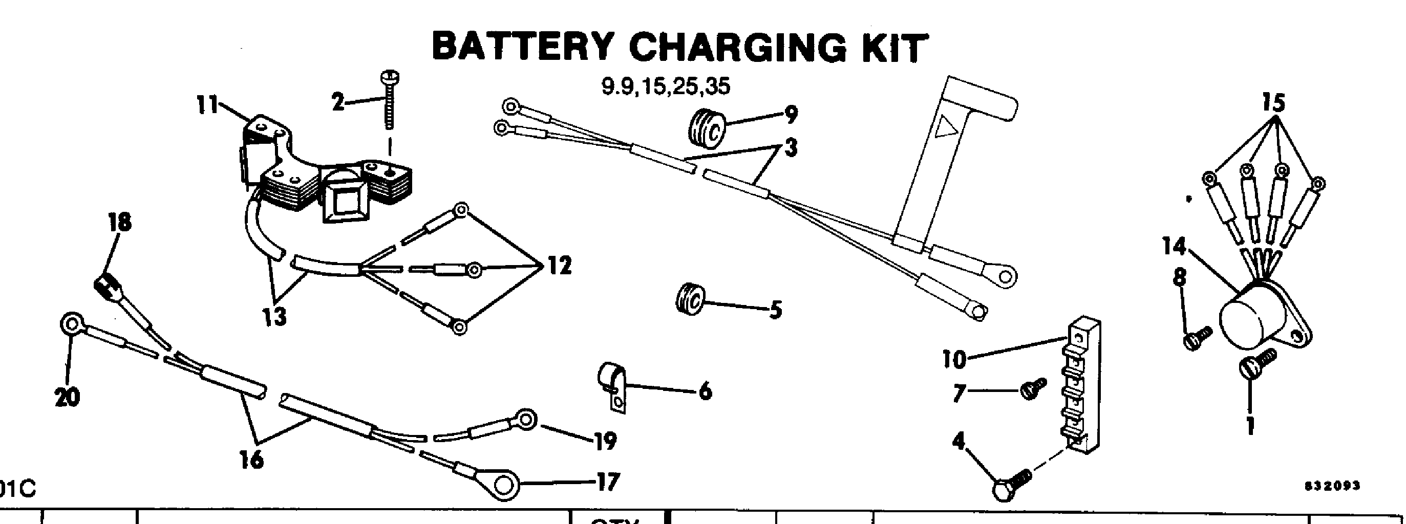 Battery Charging Kit 9 9 15 25 35 Electrical Accessories For Johnson Evinrude Outboards