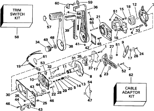 small resolution of remote control concealed side mount remote controls 1991 johnson boat motor wiring diagram 1991 johnson wiring