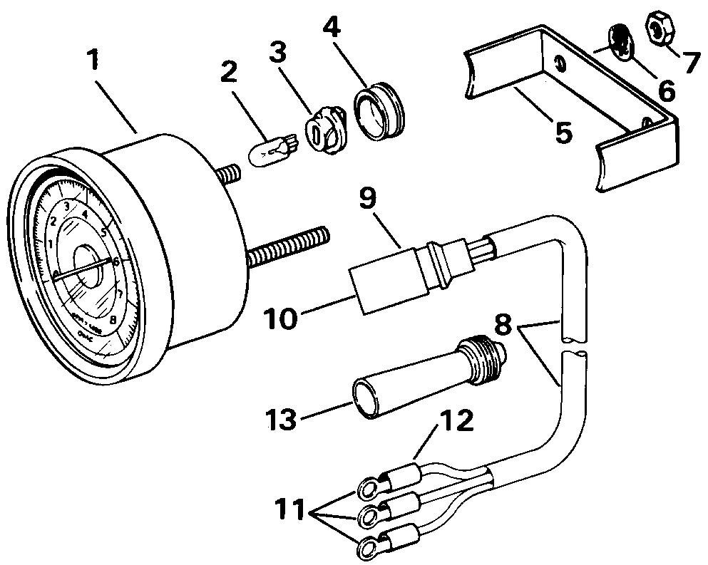 hight resolution of tachometer kits flush mount analog plug in instruments 1992 evinrude johnson omc new instrument tach wiring harness 174732