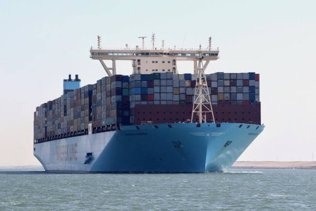 A Maersk container ship at sea