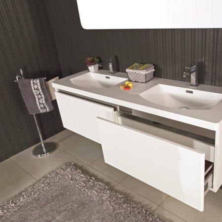 Mobile bagno sospeso moderno 150 cm con lavabo e specchio