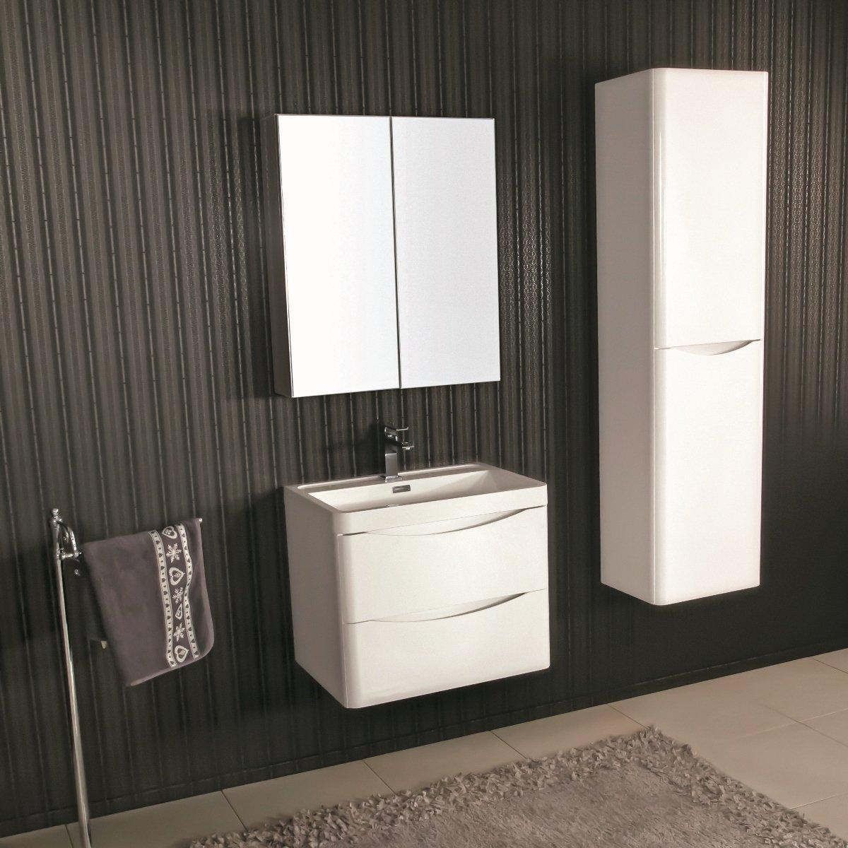 Mobile bagno sospeso moderno 60 cm con lavabo colonna e specchio - Mobile specchio bagno ...