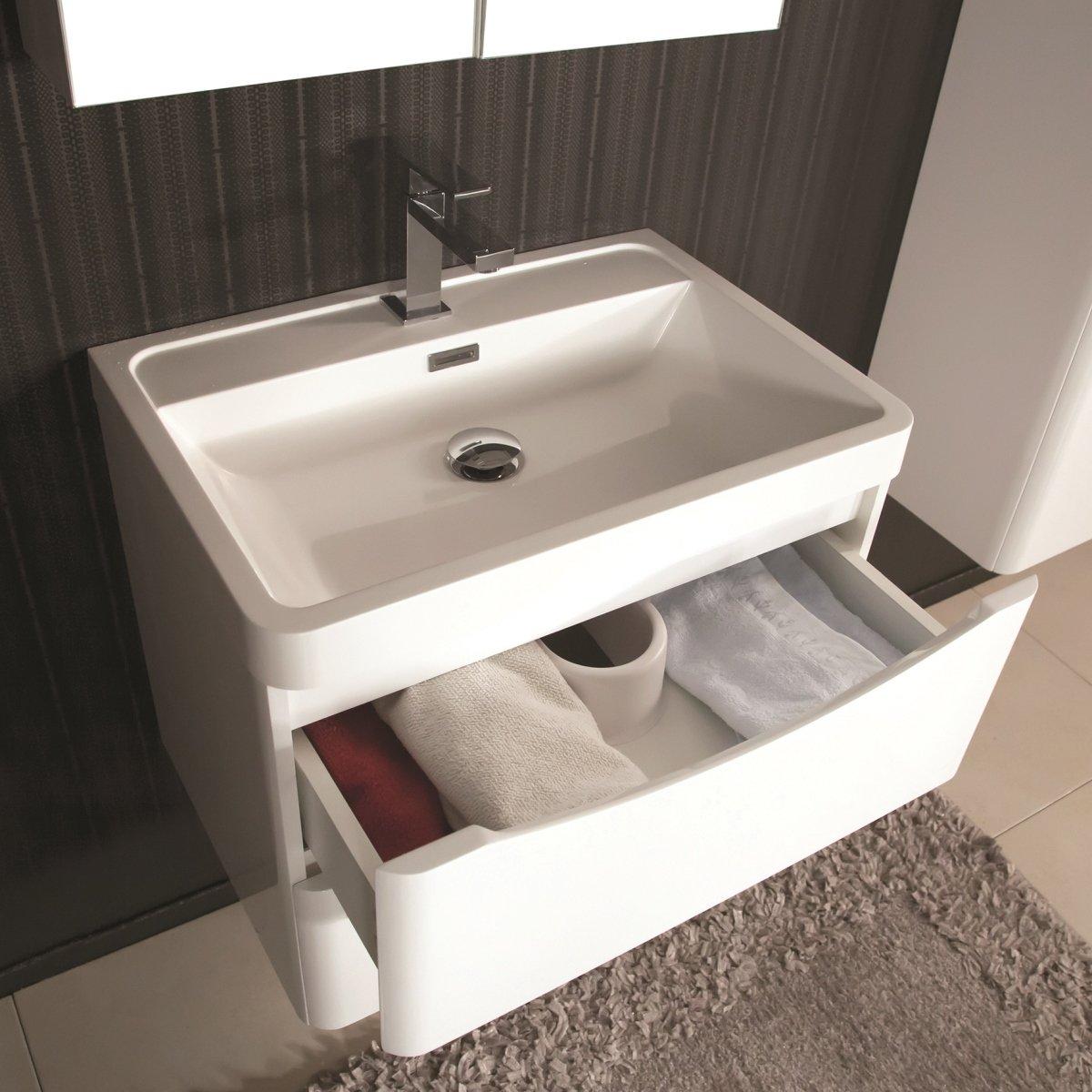 Mobile bagno sospeso moderno 60 cm con lavabo colonna e specchio