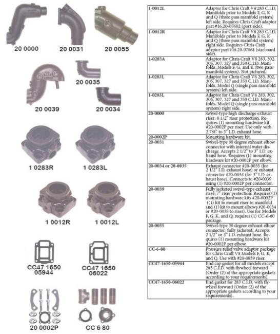 Barr Marine Manifolds Chris Craft V8-283, 302, 305, 307