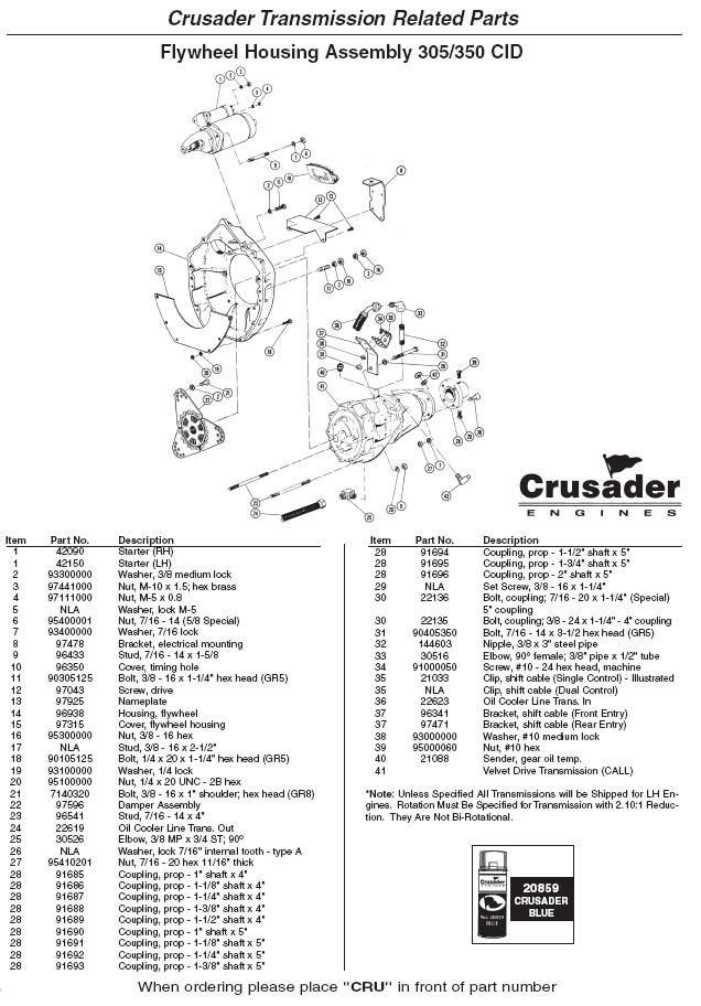 Crusader Engine Parts Engine Flywheel Housing Assembly