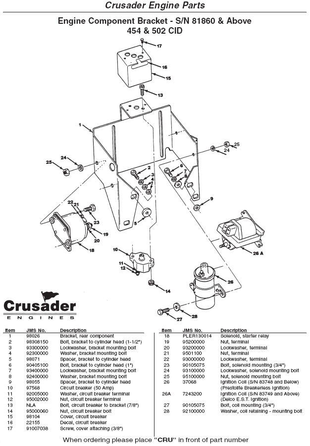 Crusader Engine Parts Engine Component Bracket