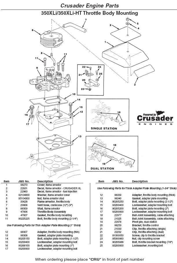 Crusader Engine Parts 350XLI 350XLI-HT Throttle Body Mounting