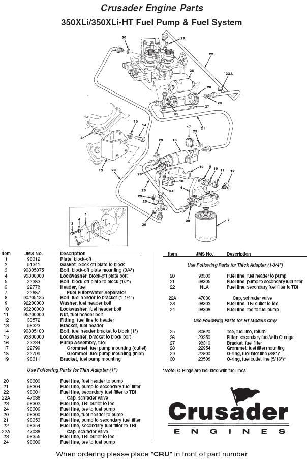 Crusader Engine Parts 350XLi 350XLi-HT Fuel Pump & Fuel System