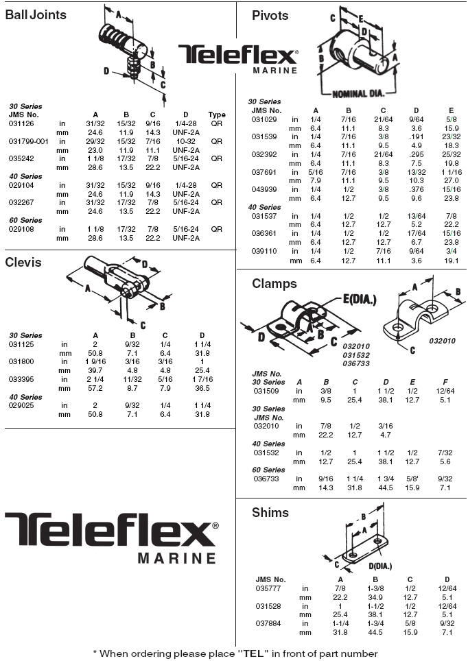 Teleflex Marine Control Cable Fittings and Parts