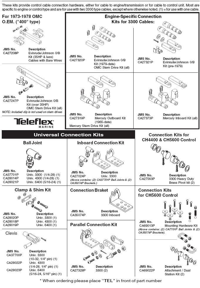 Teleflex Marine Control Cables Engine Connection Kits