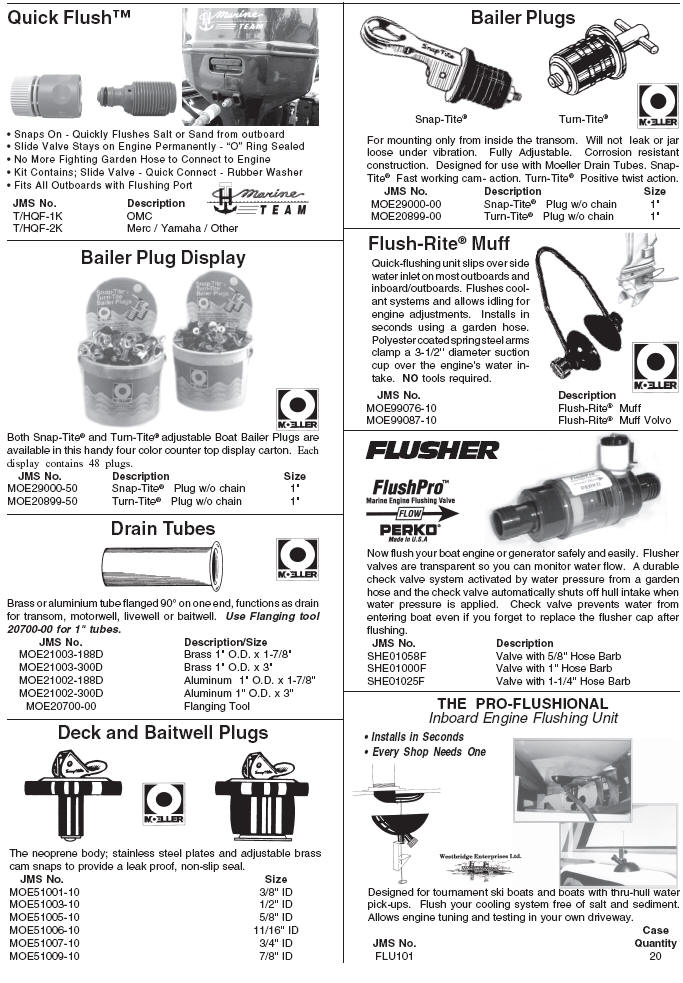 Marine Engine Motor Fresh Water Flush Kits, Drain Plugs