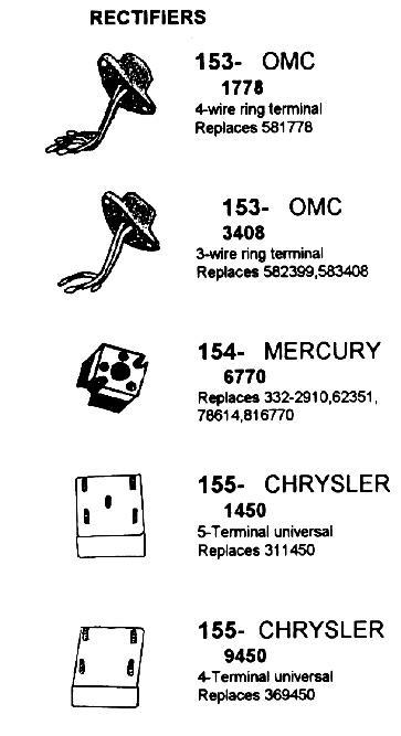 Rectifiers OMC Mercury and Chrysler, FORD, JOHNSON, EVINRUDE