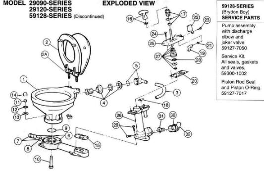 Jabsco Marine Manual Head and Parts 29090 29120 59128