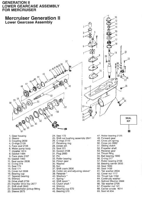 MERCRUISER GENERATION II LOWER GEARCASE ASSY BREAKDOWN