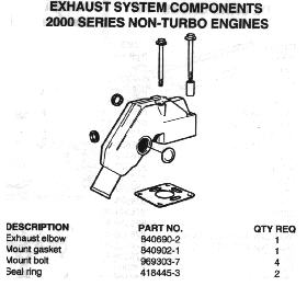 VOLVO 2000, 2003, MD1 TURBO, EXHAUST COMPONENTS
