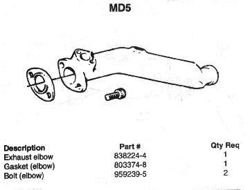 VOLVO PENTA MD5, MD6, MD7 EXHAUST SYSTEMS