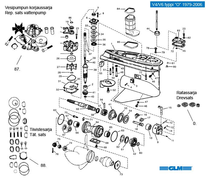 Vetolaiten osia Evinrude/Johnson V4/V6 tyyppi