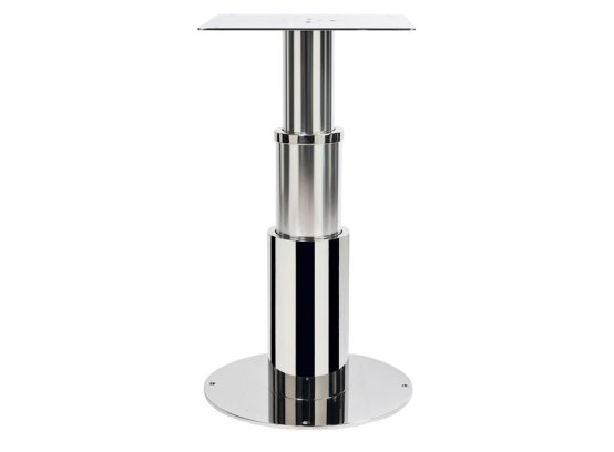 Table pedestal made in stainless steel and marine alloy with round section