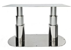 Double installation of table pedestal with oval ss base