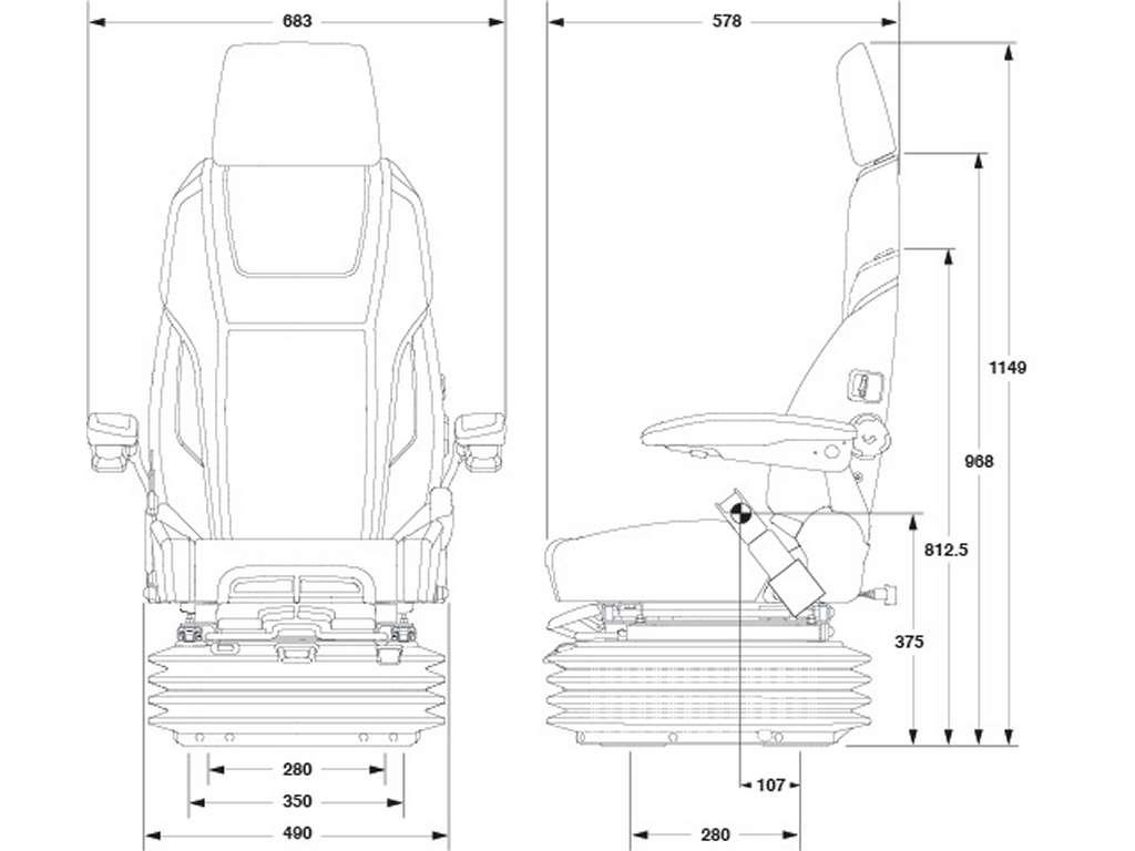 Marine Air Suspension Seat 65 K4 Heavy Duty