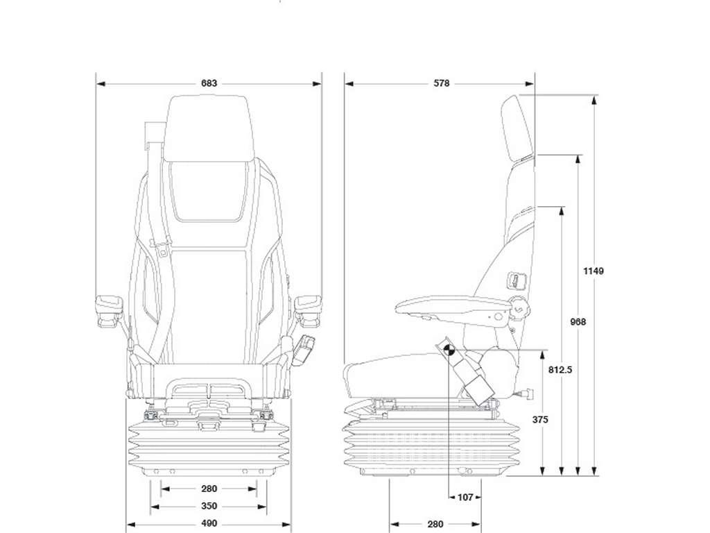 Marine Suspension Chair Kab Heavy Duty Integral Seat Belt