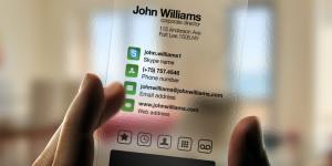 Biglietto da visita in materiale plastico semitrasparente