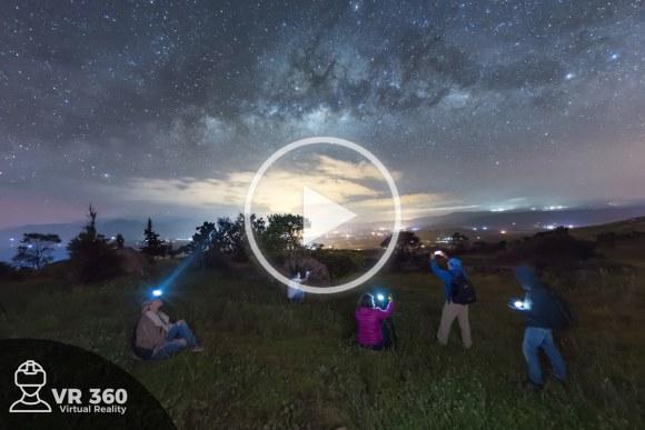 Estudiantes viendo la Vía Láctea
