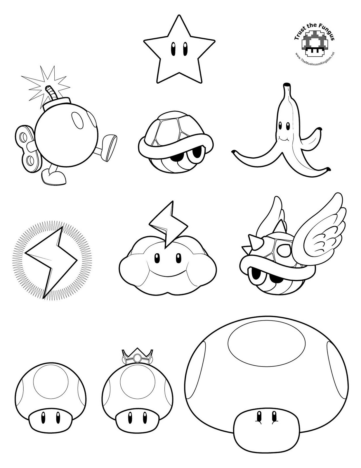Free coloring pages of mario power-ups