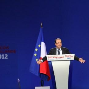 Présidentielles 2012 – Parti Socialiste Le premier grand meeting national de François Hollande, candidat aux élections présidentielles, au Parc d'Expositions du Bourget (Seine Saint-Denis), 22/01/2012