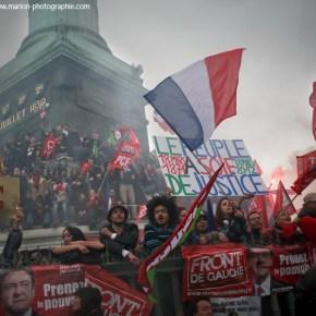 Présidentielles 2012 - Jean-Luc Mélenchon, candidat du Front de Gauche Marche pour la VIe République, Place de la Bastille, Paris, 18/03/2012