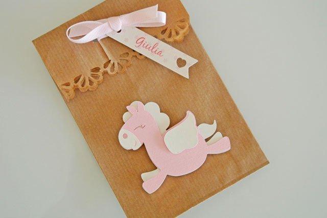 bomboniera sacchetto confetti battesimo unicorno rosa