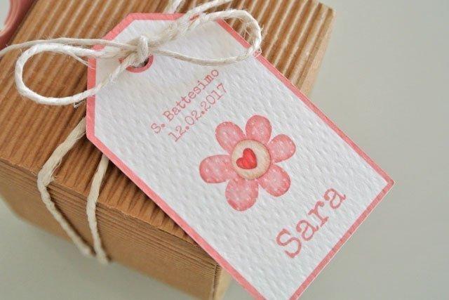Tag bomboniera battesimo rettangolare con fiore