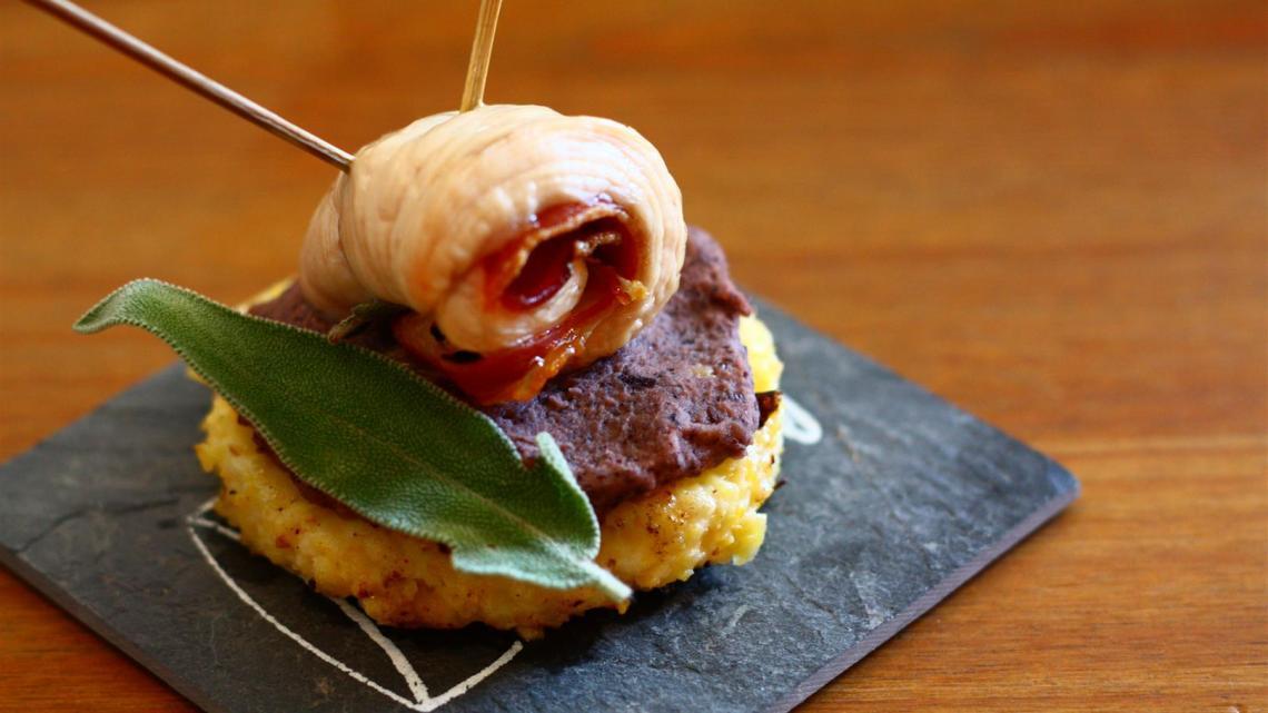 Summer Tapas: Turkey Saltimbocca, red beans mash and black olive polenta