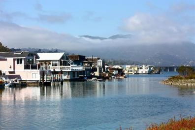 photo of some wooden houses by the water in sausalito