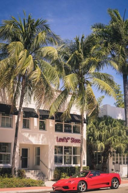 Ferrari in Miami Beach Art Deco District