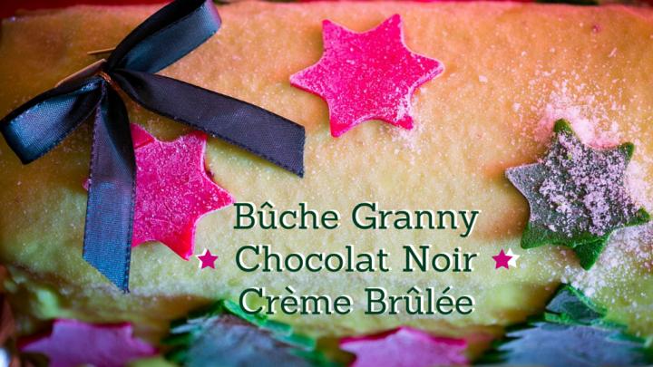 (Français) Bûche de Noël mousse légère de granny smith, chocolat noir et cœur de crème brûlée