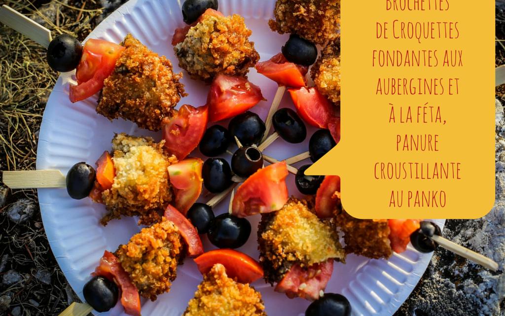 Brochettes de croquettes fondantes aux aubergines et à la féta, panure croustillante au panko