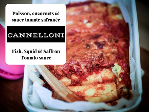cannelloni au poisson blanc et encornets, sauce tomate safranée - White fish & squid with saffron tomate sauce