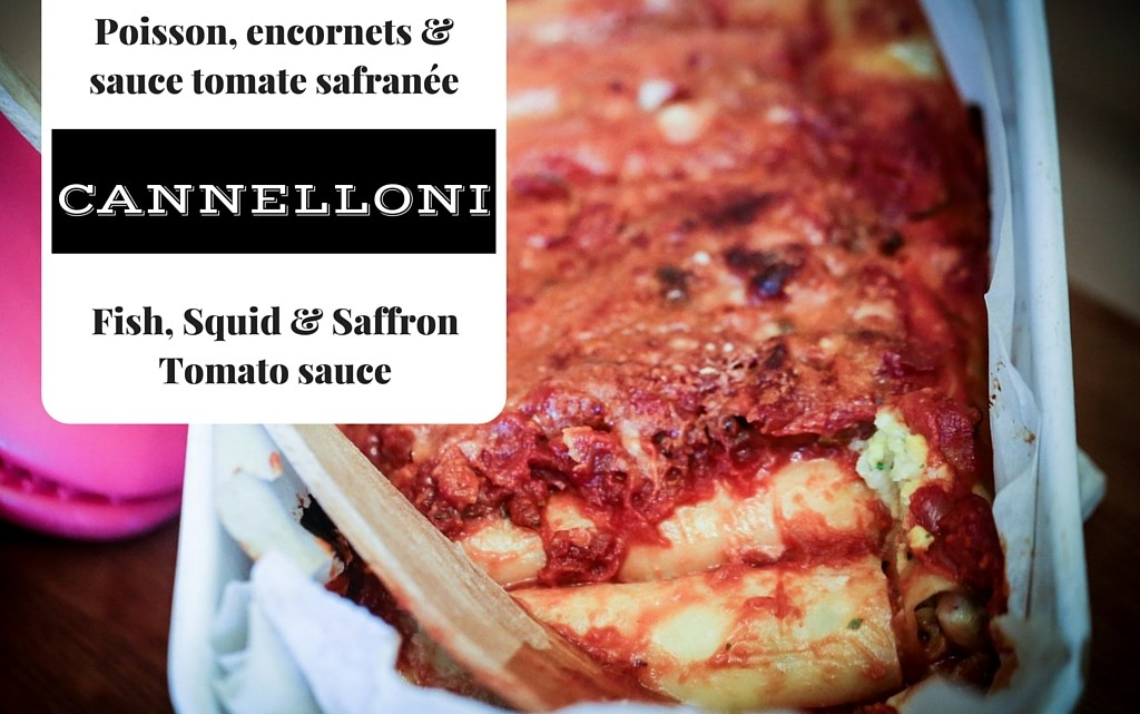 Cannelloni au poisson et encornets, sauce tomate safranée