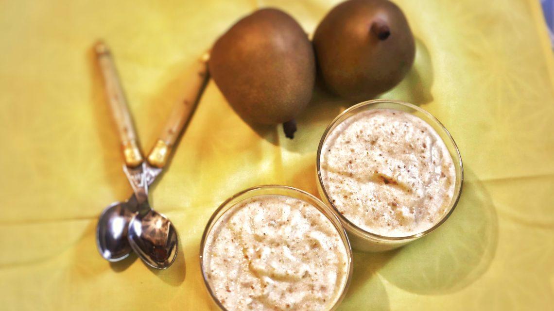 Mousse légère à la poire et fève de tonka 🍐🍧